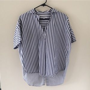 Madewell Striped Courier Button Back Shirt